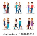 fathers and mothers with kids | Shutterstock .eps vector #1101843716