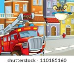 the red firetruck on the... | Shutterstock . vector #110185160
