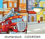 the red fire truck with the... | Shutterstock . vector #110185364