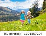 children hiking in alps...   Shutterstock . vector #1101867209