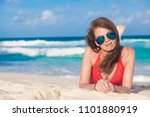 portrait of long haired woman... | Shutterstock . vector #1101880919