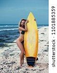 Surfer Girl Walking With Board...