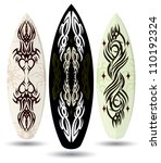 vector surf boards   tattoo... | Shutterstock .eps vector #110192324