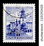 austria   circa 1957  a stamp... | Shutterstock . vector #110192420