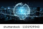 globe network hologram with... | Shutterstock . vector #1101929543