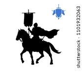 black silhouette of medieval... | Shutterstock .eps vector #1101932063