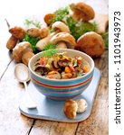 thick and chunky soup with... | Shutterstock . vector #1101943973
