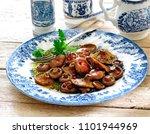 pan fried saffron milk cap with ... | Shutterstock . vector #1101944969
