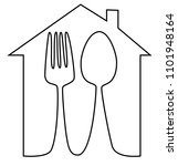 home meal icon with spoon and... | Shutterstock .eps vector #1101948164