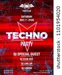 glitch party poster with blue... | Shutterstock .eps vector #1101954020