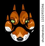 muzzle of a fox in a paw print | Shutterstock .eps vector #1101955346