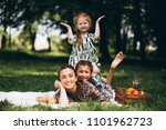 family picnic in the park | Shutterstock . vector #1101962723