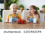 happy children girl and boy... | Shutterstock . vector #1101963194