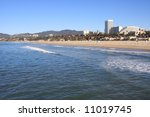 Santa Monica Beach and Upscale Hotels in Southern California - stock photo