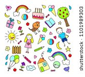 colored children drawings... | Shutterstock .eps vector #1101989303