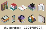 isometric colorful books...   Shutterstock .eps vector #1101989324