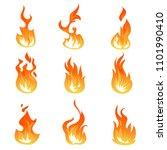 cartoon fire flames set.... | Shutterstock . vector #1101990410