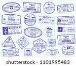 international visa stamps on... | Shutterstock . vector #1101995483