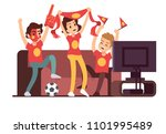 soccer fans and friends... | Shutterstock . vector #1101995489