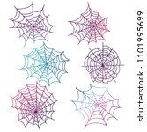 colorful spider web of set... | Shutterstock . vector #1101995699