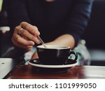coffee latte in coffee shop... | Shutterstock . vector #1101999050