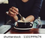 coffee latte in coffee shop... | Shutterstock . vector #1101999674
