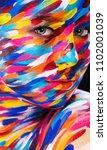 portrait of the bright... | Shutterstock . vector #1102001039