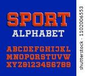 beveled alphabet vector font.... | Shutterstock .eps vector #1102006553
