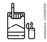 lighters  cigarettes pack ... | Shutterstock .eps vector #1102009559
