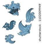 thai wave design japanese tyle...   Shutterstock .eps vector #1102009949