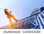 construction workers operator...   Shutterstock . vector #1102013183