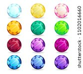 isolated colorful gemstones of... | Shutterstock .eps vector #1102016660