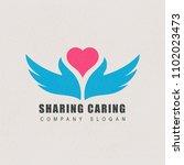 sharing caring logo design for...   Shutterstock . vector #1102023473