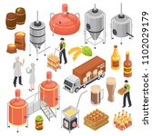 brewery isometric elements set... | Shutterstock .eps vector #1102029179