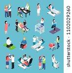 pregnancy isometric icons ... | Shutterstock .eps vector #1102029260