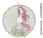 cute pink unicorn | Shutterstock .eps vector #1102030853