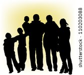 silhouettes of people | Shutterstock .eps vector #110203088