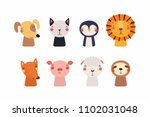 set of cute funny little... | Shutterstock .eps vector #1102031048
