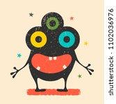 cute black monster with...   Shutterstock .eps vector #1102036976