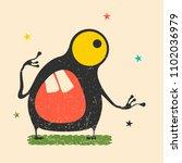 cute black monster with... | Shutterstock .eps vector #1102036979