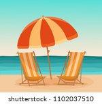 summer beach sea holiday vector ... | Shutterstock .eps vector #1102037510