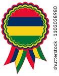 mauritius award ribbon vector... | Shutterstock .eps vector #1102038980