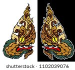 line thai style.hand drawn thai ... | Shutterstock .eps vector #1102039076