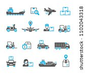 shipping and logistics icons | Shutterstock .eps vector #1102043318