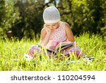charming girl in the hat... | Shutterstock . vector #110204594