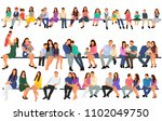 silhouette people sit  set ... | Shutterstock .eps vector #1102049750