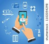 online doctor infographics. man ... | Shutterstock .eps vector #1102054298