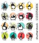 set of sixteen color stickers...   Shutterstock .eps vector #1102056806