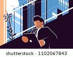 businessman holding tablet... | Shutterstock .eps vector #1102067843