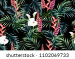 seamless pattern with tropical... | Shutterstock .eps vector #1102069733